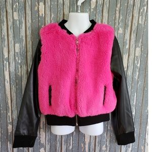 Girls Faux Leather and Fur Bomber Jacket